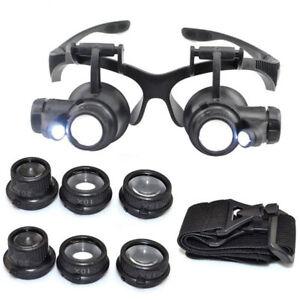 10/15/20/25X Practical Watch Repair Dental Loupes Binocular LED Magnifying Glass