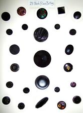Card of 25 Vintage Black Glass Buttons