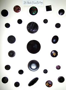 SALE Card of 25 Vintage Black Glass Buttons Card #5
