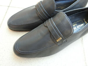 Bally Belfit Parawet Gray Leather Loafer Shoes EU42 UK8 US9 Made in Switzerland