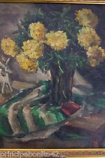 DAHLIAS, YELLOW--OIL PAINTING-1800'S--EXTREMELY APPEALING TO THE EYE