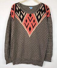 Anthropologie Ecote Womens Medium Tribal Chevron Pullover Sweater Scoop Neck