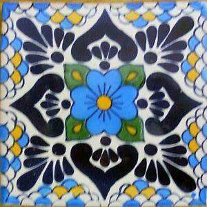 C#116) MEXICAN TILES CERAMIC HAND MADE SPANISH INFLUENCE TALAVERA MOSAIC ART