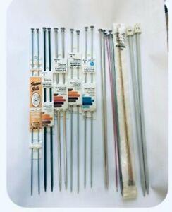 Assorted Lot~10~(Vintage?) Knitting Needles Pairs aluminum plastic all sizes