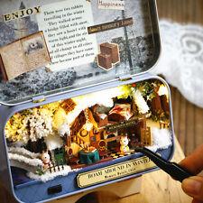 DIY Handcraft Miniature Project Kit Dolls My Cosy Winter Cottage Box Theatre