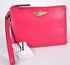 NEW DVF DIANE VON FURSTENBERG FLIRTY LIPS SMALL PINK LEATHER WRISTLET PURSE BAG