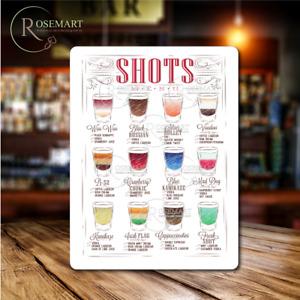 Shots Drink menu recipes metal sign plaque ideal for home bar cafe pub man cave