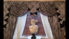 Grey/Black Damask Designer Curtains Swags & Tails Lined 7-8ft Window