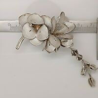Solid sterling silver 925 beautiful brooch chic flowers stunning unique N86.