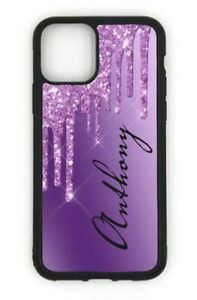 Personalized name Glitter Drip iPhone Samsung phone case Purple Gold Silver Blue