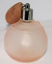 Vintage Frosted Pink Glass w/Bow Perfume Bottle w/Atomizer