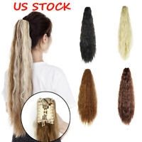 US Stock Afro Long Yaki Curly Ponytail Wavy Claw on Hair Extensions Hairpiece YJ