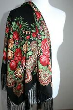 SOFT FLORAL RUSSIAN SHAWL WOOL SCARF BLACK DRESS WRAP PAVLOVO POSAD STYLE RUSSIA