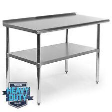 """Stainless Steel Kitchen Restaurant Work Prep Table with Backsplash - 24"""" x 48"""""""