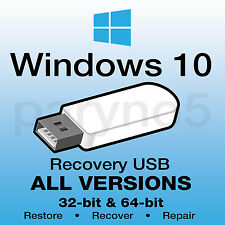 WINDOWS 10 Recovery Reinstall Boot Restore USB Flash Drive Recover