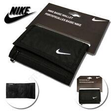 Nike Basic Wallet Swoosh Sports Holiday Card Holder Tri-Fold Zip Travel Black