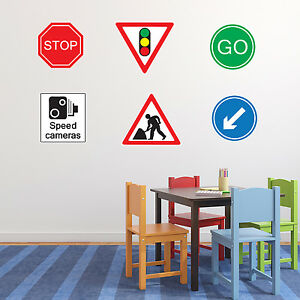 Roadworks Road Sign Wall Sticker Pack - Children's Nursery / Bedroom Wall Art