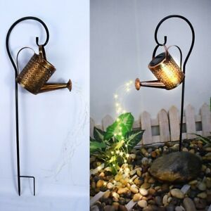Watering Can Solar Garden Landscape Path LED String Lights Yard Stake Planter