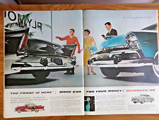 1956 Plymouth Belvedere & Savoy Sport Ad  7up Soda Ad Ice Cream  Jell-O Kittens