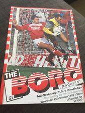 Middlesbrough V Wimbledon 1989 Soccer/football Programme League Cup