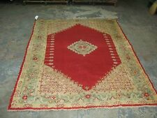 Antique Red Angora Oushak Ushak Collector Rug Hand Knotted Wool 5' x 7""