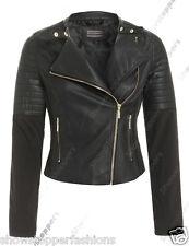 Size 8 10 12 14 16 NEW Womens BIKER JACKET Waist FAUX LEATHER Ladies ZIP Coat PU