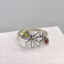 Sterling Silver Daisy Bumble Bee And Ladybug Ring Gold Cz In Gift Box Size 6