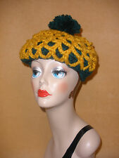 1970's Dark Green & Gold Knit Beret w/ Tassel by Betmar - New With Tag