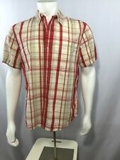 CANYON RIVER BLUES Mens Short Sleeve Shirt M 38-40 Plaid White Red Cotton Casual