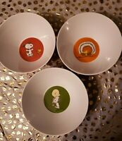 3 Pottery Barn Kids 3 NEW Peanuts Snoopy Woodstock Charlie Brown bowls RARE