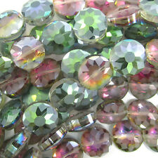 """14mm faceted frost crystal coin beads 8"""" strand rainbow"""