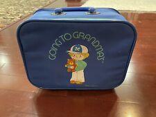 Going To Grandmas Mini Small Travel Suitcase Blue Boy Bear Kids Luggage Retro