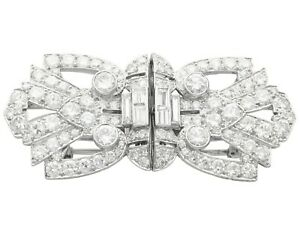7.27ct Diamond and Platinum, 18ct White Gold Double Clip Brooch - Art Deco