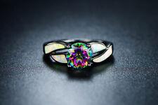 Sevil 18K Black Rhodium Plated Created Mystic Topaz & Opal Statement Ring