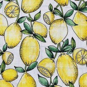 Vintage Double Duvet Set 2 P-Case large lemons yellow & green Cottage fabric