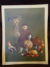 The New York Graphic Society lithograph print boy w chicken printed switzerland