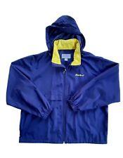 Eddie Bauer Men's Sz XL Rain Coat Jacket Full Zipper Blue Yellow