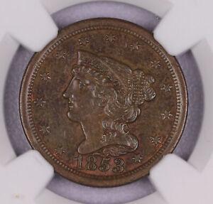 1853 BRAIDED HAIR HALF CENT COPPER US COIN NGC AU55 BN