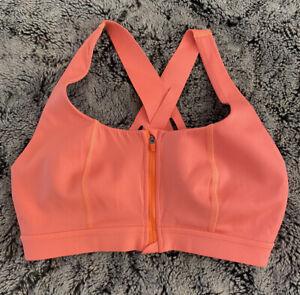Sweaty Betty Circuit Zip Up Sports Bra, Size L, Orange