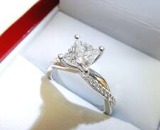 Ladies Ring Engagement Wedding 10k Solid White Gold 2.00 ct Princess Cut Diamond