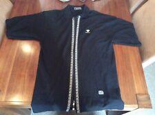 Mens black Versace casual zip up top 3/4 length sleeves, medium.