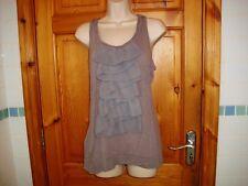 Womens ruffle sleeveless top grey size 12UK vgc racer back v