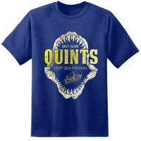 Quints Fishing Jaws Movie T Shirt Amity Island Poster Retro Distressed Print DVD