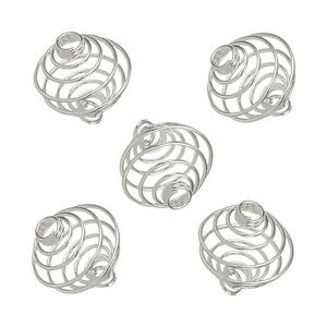 14mm Spiral Wire Bead Cage Pendants Findings Silver Plated Pack of 5 (L82/13)