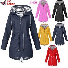 Plus Size Women Waterproof Raincoat Wind Outdoor Jacket Forest Coat Rain UK Sell