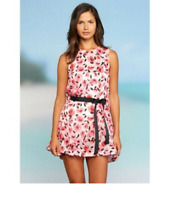 Kate Spade Bay of Roses Pink Floral Cotton Waist Tie Swim Cover Up Tunic - Small