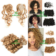 New Curly Wave Human Hair Extension 8Inch Brazilian Oblique Bangs 7pcs/set Short