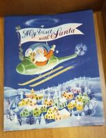 Vintage Christmas Card MCM Santa Helicopter Department Store Santa Visit Photo
