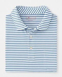 Peter Millar Men's White/Blue Striped Seaside Wash S/S Pocket Polo Shirt