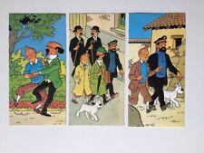 TINTIN 3 CARTE POSTALE EN RELIEF GAUFREE 1979 / HERGE LOMBARD
